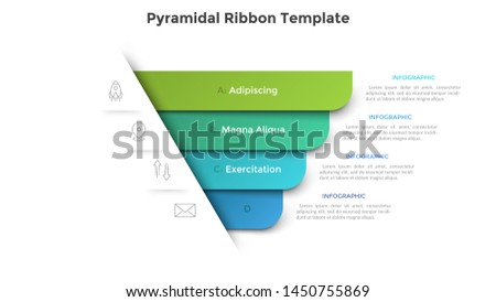 Pyramidal diagram with four colorful paper ribbon elements. Concept of 4 business options to choose. Creative infographic design template. Realistic vector illustration for website menu, banner. Foto stock ©