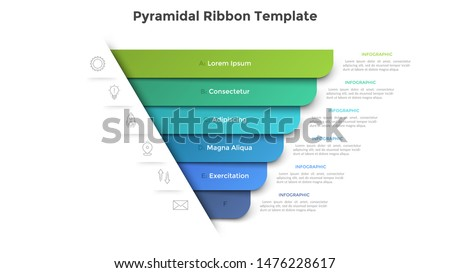 Pyramidal diagram with six colorful paper ribbon elements. Concept of 6 business options to choose. Creative infographic design template. Realistic vector illustration for website menu, banner.