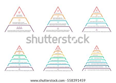 Pyramids, triangles for infographics. Design elements with 3, 4, 5, 6, 7, 8 steps, levels, options.