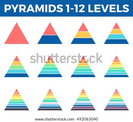 Pyramids, triangles for infographics with 1, 2, 3, 4, 5, 6, 7, 8, 9, 10, 11, 12 steps, levels. Vector design elements.