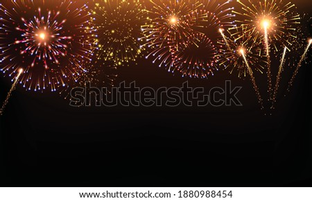 Pyrotechnics and fireworks background with animation on black background realistic vector illustration Stock photo ©