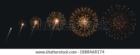 Pyrotechnics and fireworks set with animation on black background realistic isolated vector illustration Stock photo ©
