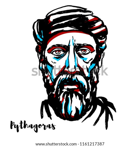 Pythagoras engraved vector portrait with ink contours. Ionian Greek philosopher and the eponymous founder of the Pythagoreanism movement.