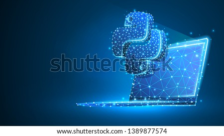 Python coding language sign on notebook screen. Device, programming, developing concept. Abstract, digital, wireframe, low poly mesh, vector blue neon 3d illustration. Triangle, line, dot, star