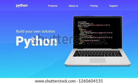 Python programming code technology banner. Python language software coding development website design.