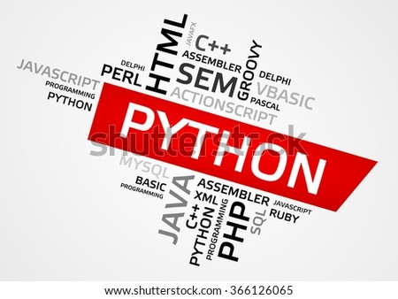 PYTHON word cloud, tag cloud, vector graphics - programming concept