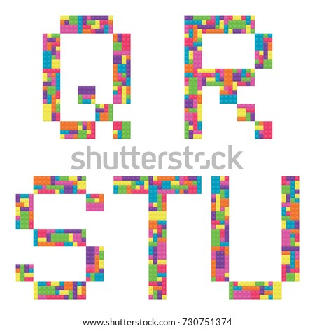 Q, r, s, t, u alphabet letters from children building block icon set vector graphic illustration Stock fotó ©