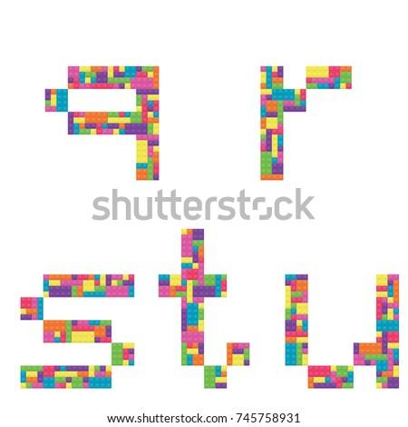 Q, r, s, t, u alphabet lowercase letters from children building block icon set vector graphic Stock fotó ©