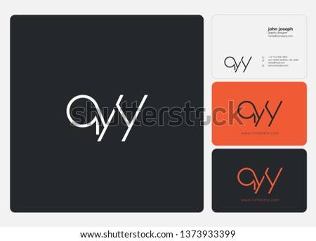 Q Y Y Letters Joint logo icon and business card vector template.