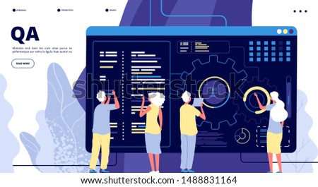 QA landing page. Testing quality assurance in software prototype. People fixing program code bugs in device. Vector concept