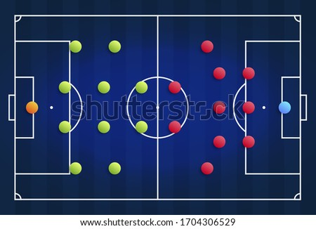 Qatar 2022 blue cyber football field with a tactical scheme of the arrangement of players of two soccer teams on the board, organization of a game diagram for a fantasy league coach