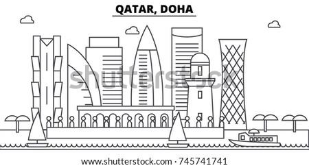 Qatar, Doha architecture skyline buildings, silhouette, outline landscape, landmarks. Editable strokes. Urban skyline illustration. Flat design vector, line concept