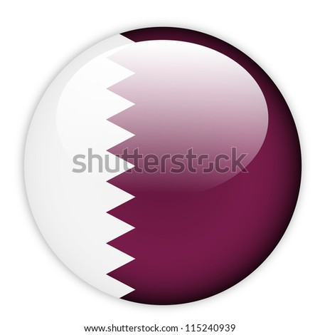 Qatar flag button on white