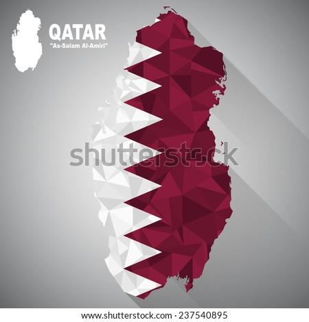 Qatar flag overlay on Qatar map with polygonal and long tail shadow style (EPS10 art vector)