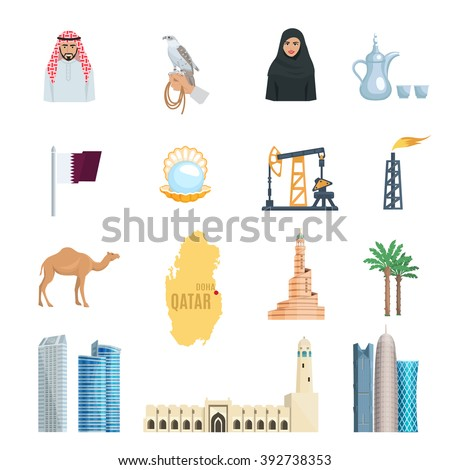 Qatar flat icons set with oil natural gas mosques skyscrapers and symbols of culture isolated vector illustration