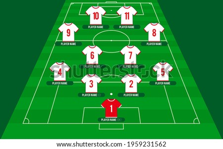 qatar 2022 Football team formation. Soccer or football field with 11 shirt with numbers vector illustration. soccer lineup
