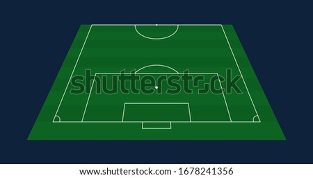 qatar 2022 Half Green grass Vector Football or Soccer Field background. Stock vector illustration of a soccer field with front perspective