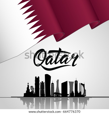 Qatar Lettering. With national flag and Silhouette of the City, Modern Architectural Buildings. With Bantings and Confetti