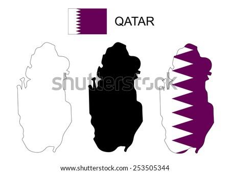 Qatar map vector, Qatar flag vector