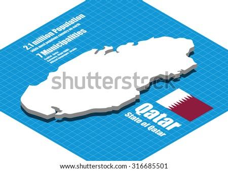 Qatar map vector three dimensional