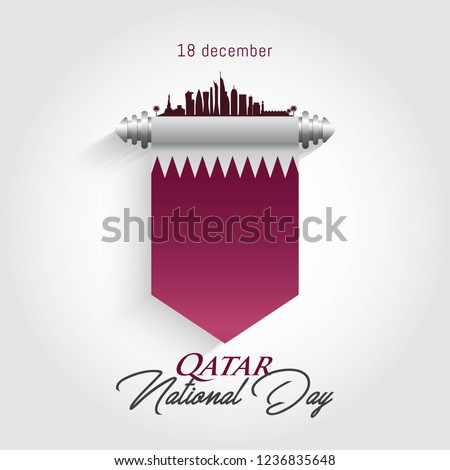 Qatar national day celebration with landmark and flag 18 th december. vector illustration