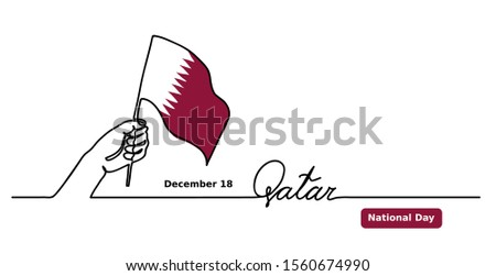 Qatar National Day vector background. One continuous line drawing concept with hand, Qatar flag, lettering. Qatar Independence concept.