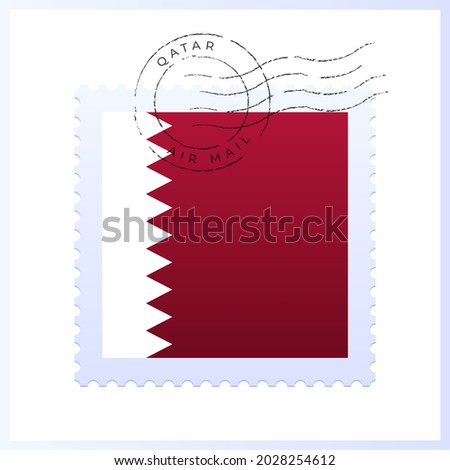 qatar postage mark. National Flag Postage Stamp isolated on white background vector illustration. Stamp with official country flag pattern and countries name. world, cup, 2022, qatar