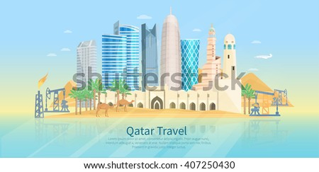 Qatar skyline flat poster with modern buildings camels and oil drilling rig vector illustration