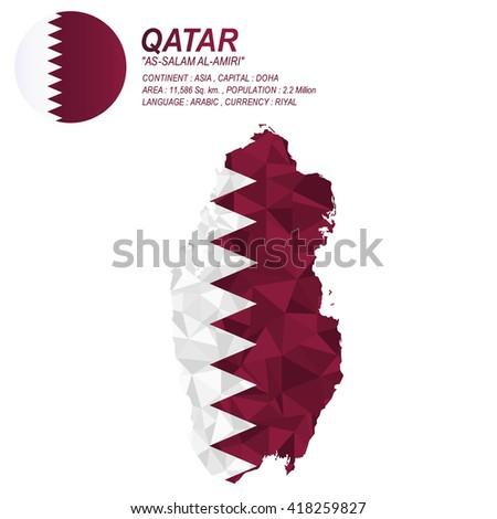 Qatari flag overlay on Qatari map with polygonal style.(EPS10 art vector)