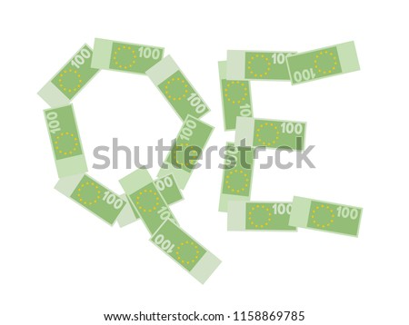 QE - quantitative easing - Euro banknotes are printed in Eurozone by Central bank - economics of inflation and devaluation of currency. Vector illustration