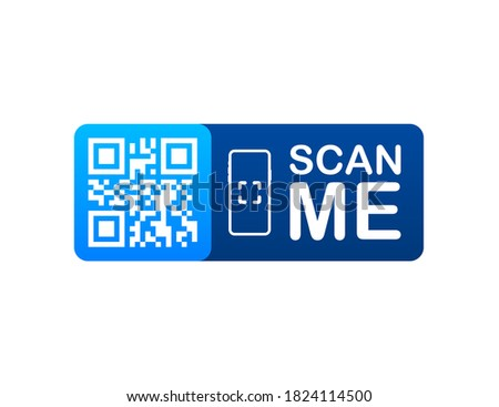 QR code for smartphone. Inscription scan me with smartphone icon. Qr code for payment. Vector illustration Foto stock ©