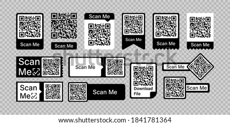 Qr code frame vector set. Scan me phone tag. Qr code mock up, mockup. Barcode smartphone id icon. Cellphone qrcode banner. Mobile payment and identity on white background.