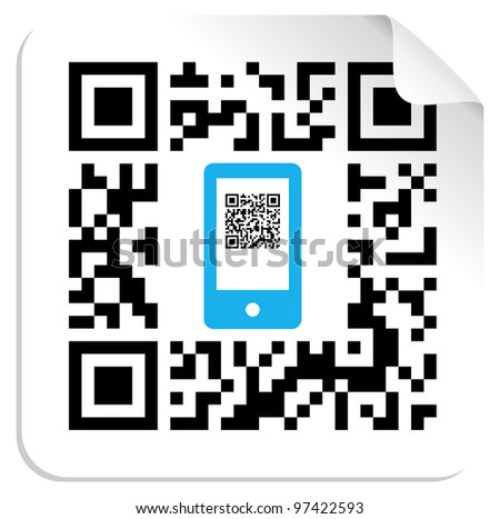QR code label with the blue mobile icon. Vector file available.