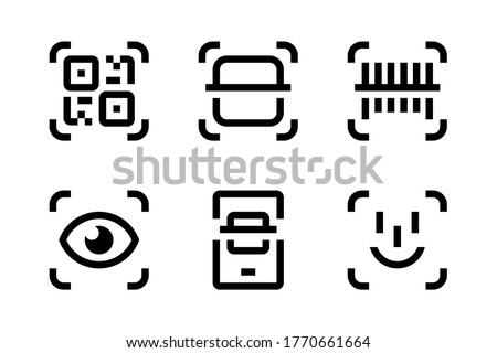 QR code scan, Barcode Scan and Face Recognition icon set. Mobile Scan vector icons. Scanning of Codes and Objects. Check Code icons.
