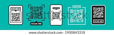 QR code scan for smartphone. Qr code frame vector set. Template scan me Qr code for smartphone. QR code for mobile app, payment and phone. Scan me phone tag. Vector illustration.