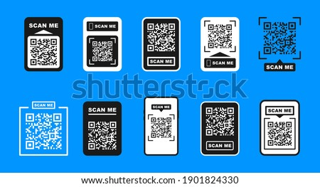 QR code scan for smartphone. Template scan me Qr code for smartphone. For mobile app, payment and phone. Scan me phone tag. Vector illustration.
