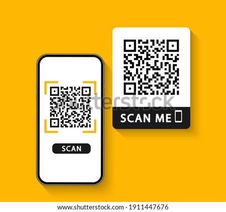 QR code scan to smartphone. Qr code for payment. Mobile phone scanning QR-code. Inscription scan me. Verification. Vector illustration.