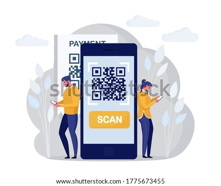 QR code scanning concept. Characters use mobile phone, scan barcode for online payment. Digital money app. Vector cartoon design