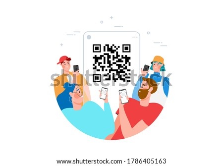 Qr code scanning concept with people scan code using smartphone for payment flat vector illustration. Hand with phone and scanning barcode