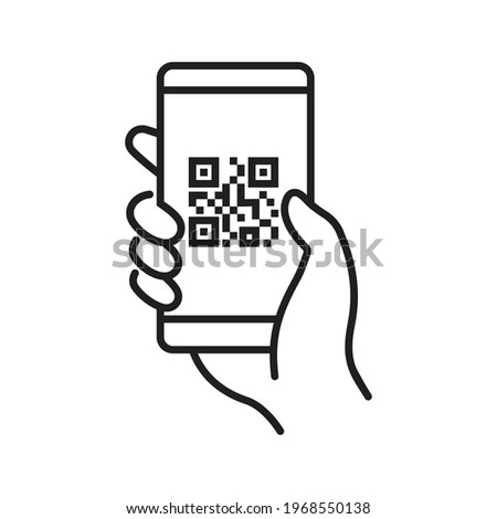 QR code scanning icon in smartphone. hand holding Mobile phone in line style, barcode scanner for pay,  web, mobile app, promo. Vector illustration.