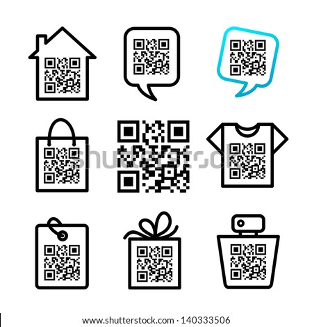 QR-Code. Set of 8 icons
