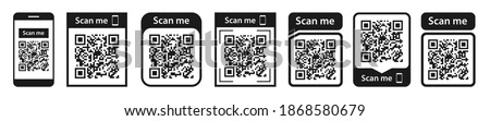 QR code set. Scan qr code icon. Template scan me Qr code for smartphone. QR code for mobile app, payment and phone. Vector illustration