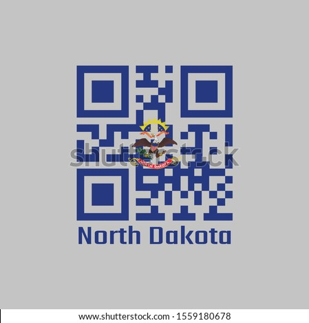 QR code set the color of North Dakota flag. The states of America. Flag of the unit by state troops in the Philippine-American War, text: North Dakota.
