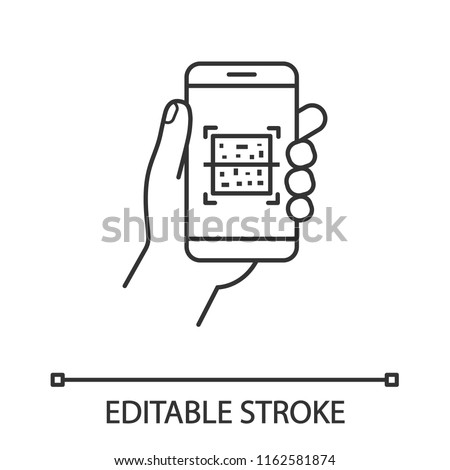QR code smartphone scanner linear icon. Thin line illustration. Quick response code. Matrix barcode scanning mobile phone app. Contour symbol. Vector isolated outline drawing. Editable stroke