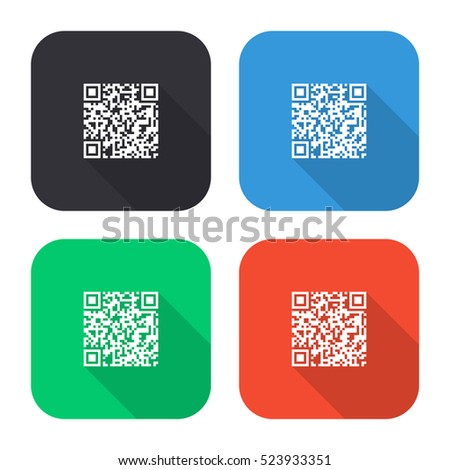 QR code vector icon - colored illustration (gray blue green red)   with long shadow