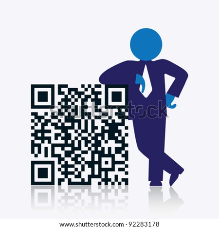 QR code with savvy businessman standing next to it. CMYK global process colors used. Organized by layers. Gradients used.