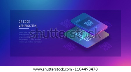 Qr verification. A mobile phone with a scanner reads the qr code. Vector hi tech illustration isometric style.