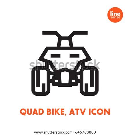 quad bike icon, all terrain vehicle ATV, quadricycle on white, linear style Stock photo ©