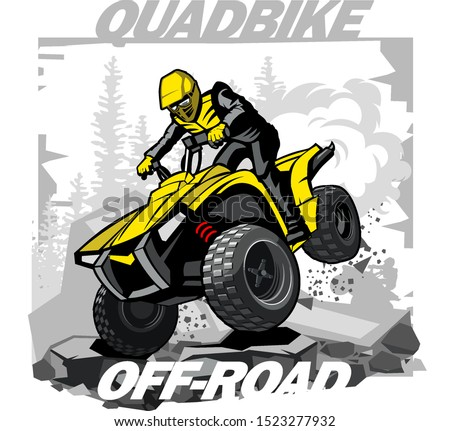 Quad Bike Off-road logo with mountain background Stock photo ©