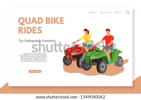 quad bike rides flat vector